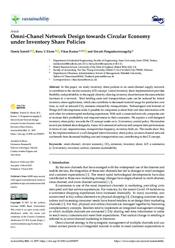 Omni-chanel network design towards circular economy under inventory share policies Thumbnail