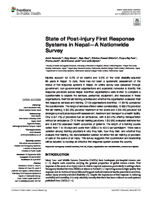 State of post-injury first response systems in Nepal—A nationwide survey Thumbnail