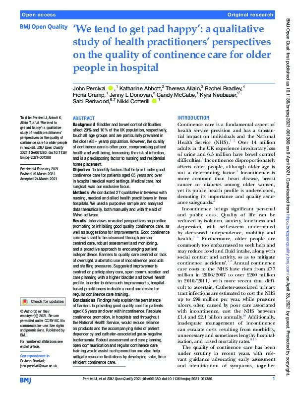 'We tend to get pad happy': A qualitative study of health practitioners' perspectives on the quality of continence care for older people in hospital Thumbnail