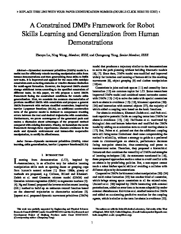A constrained DMPs framework for robot skills learning and generalization from human demonstrations Thumbnail