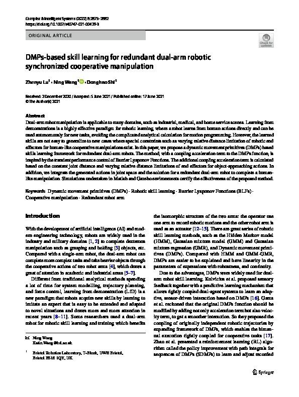 DMPs-based skill learning for redundant dual-arm robotic synchronized cooperative manipulation Thumbnail