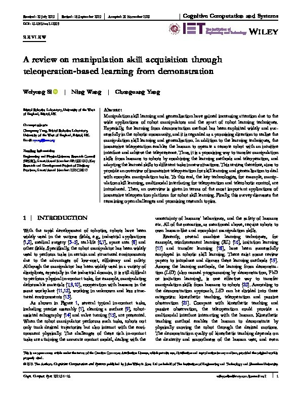 A review on manipulation skill acquisition through teleoperation-based learning from demonstration Thumbnail