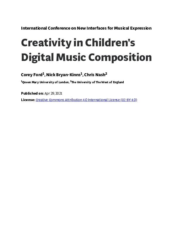 Creativity in children's digital music composition Thumbnail