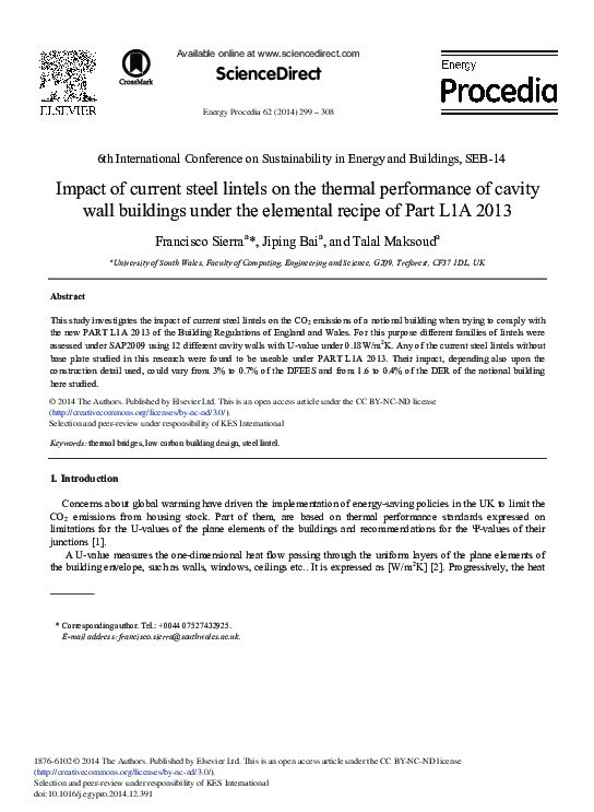 Impact of current steel lintels on the thermal performance of cavity wall buildings under the elemental recipe of Part L1A 2013 Thumbnail