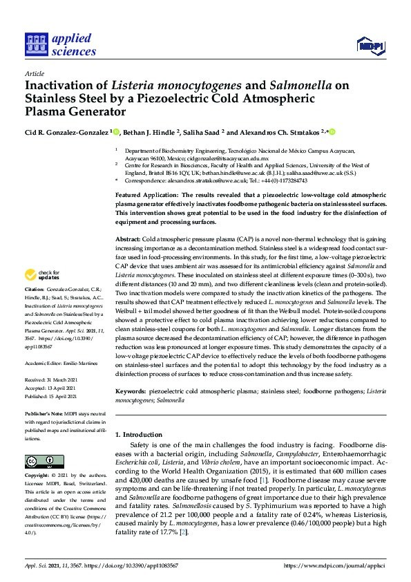 Inactivation of Listeria monocytogenes and Salmonella on stainless steel by a piezoelectric cold atmospheric plasma generator Thumbnail