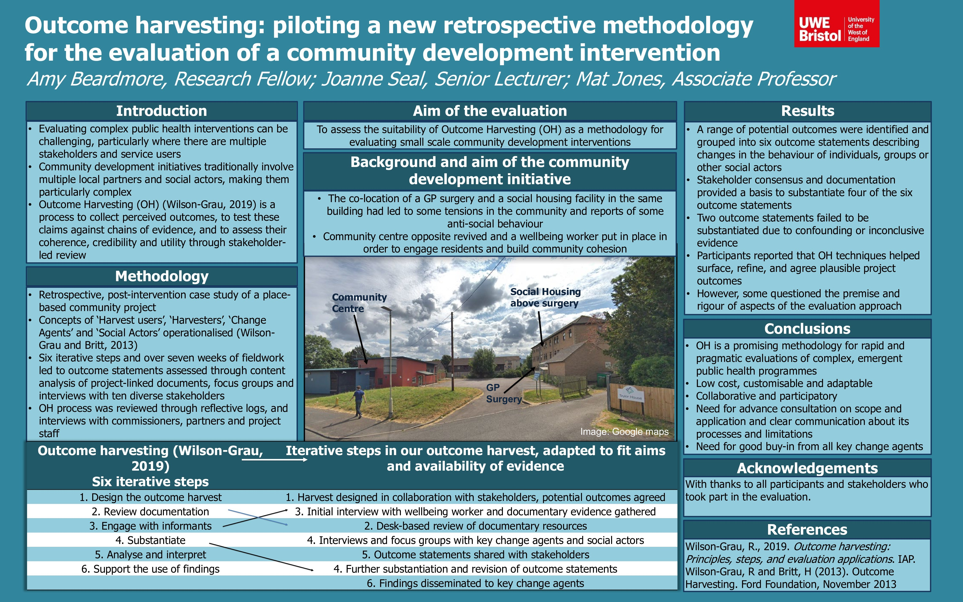 Outcome harvesting: Piloting a new retrospective methodology for the evaluation of a community development intervention Thumbnail