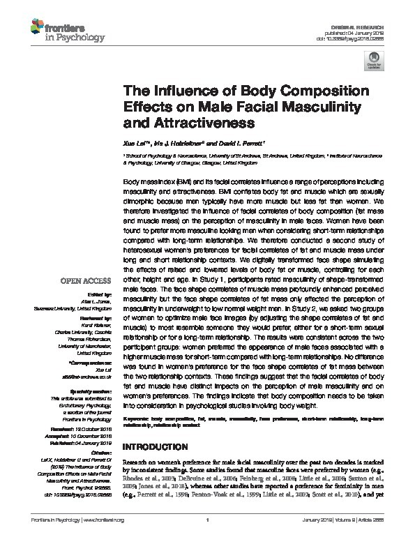 The influence of body composition effects on male facial masculinity and attractiveness Thumbnail