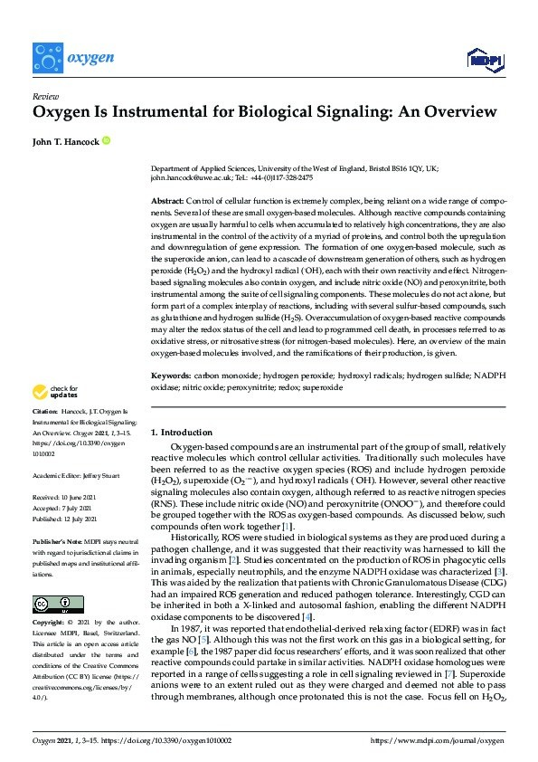 Oxygen is instrumental for biological signalling: An overview Thumbnail