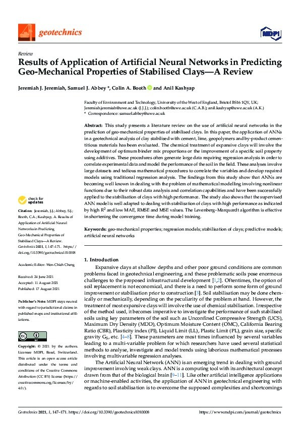 Results of application of artificial neural networks in predicting geo-mechanical properties of stabilised clays - A Review Thumbnail
