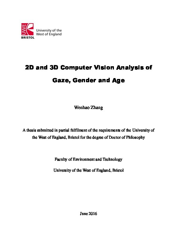 2D and 3D computer vision analysis of gaze, gender and age Thumbnail