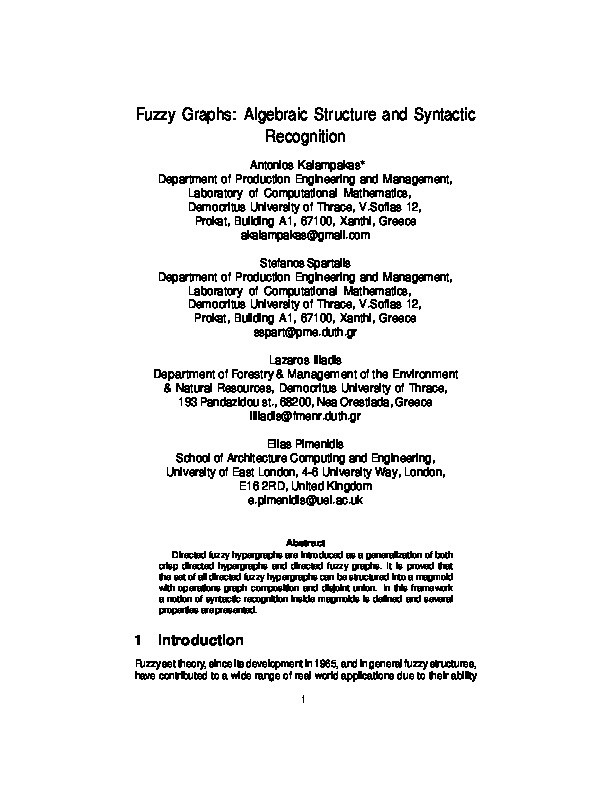 Fuzzy graphs: Algebraic structure and syntactic recognition Thumbnail