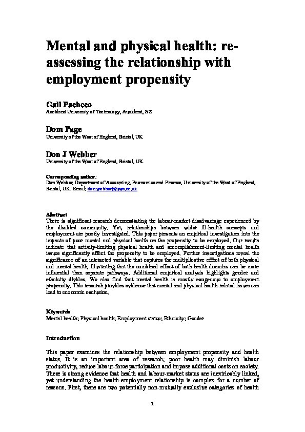 Mental and physical health: Re-assessing the relationship with employment propensity Thumbnail