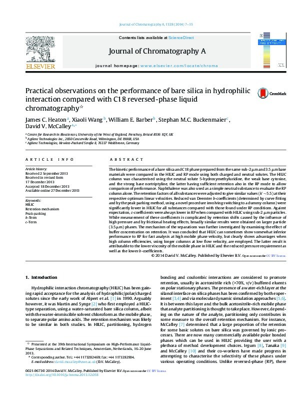 Practical observations on the performance of bare silica in hydrophilic interaction compared with C18 reversed-phase liquid chromatography Thumbnail
