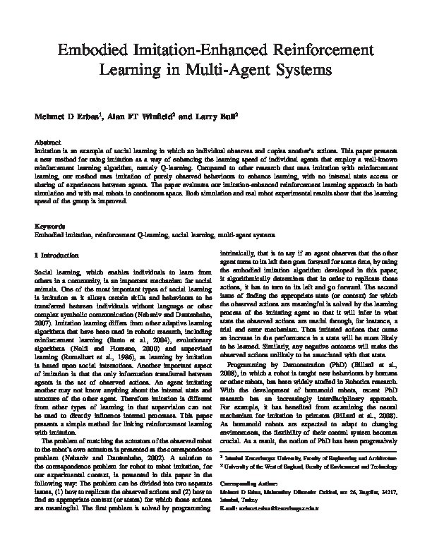 Embodied imitation-enhanced reinforcement learning in multi-agent systems Thumbnail