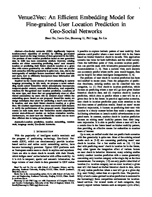 Venue2Vec: An efficient embedding model for fine-grained user location prediction in geo-social networks Thumbnail