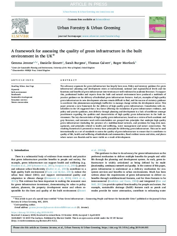 A framework for assessing the quality of green infrastructure in the built environment in the UK Thumbnail