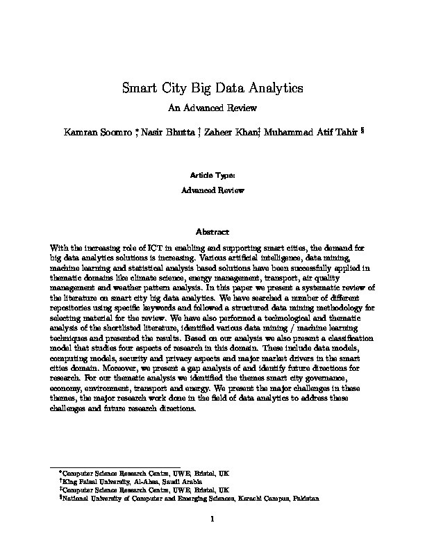 Smart city big data analytics: An advanced review Thumbnail
