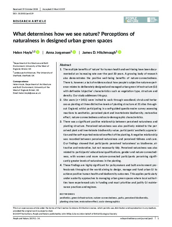 What determines how we see nature? Perceptions of naturalness in designed urban green spaces Thumbnail