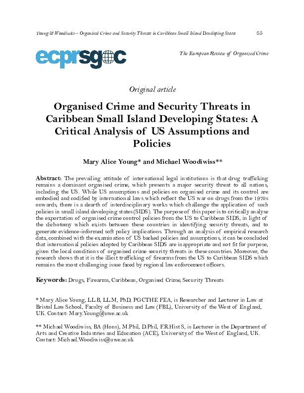 Organised crime and security threats in Caribbean Small Island Developing States: A Critical analysis of US assumptions and policies Thumbnail