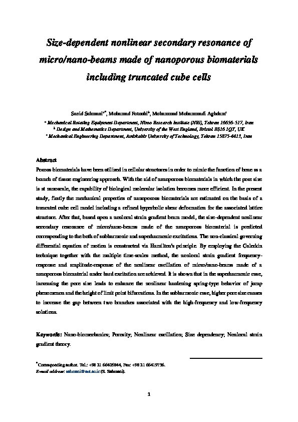 Size-dependent nonlinear secondary resonance of micro-/nano-beams made of nano-porous biomaterials including truncated cube cells Thumbnail