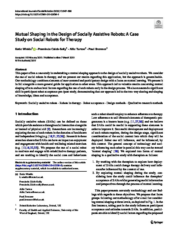Mutual Shaping in the Design of Socially Assistive Robots: A Case Study on Social Robots for Therapy Thumbnail