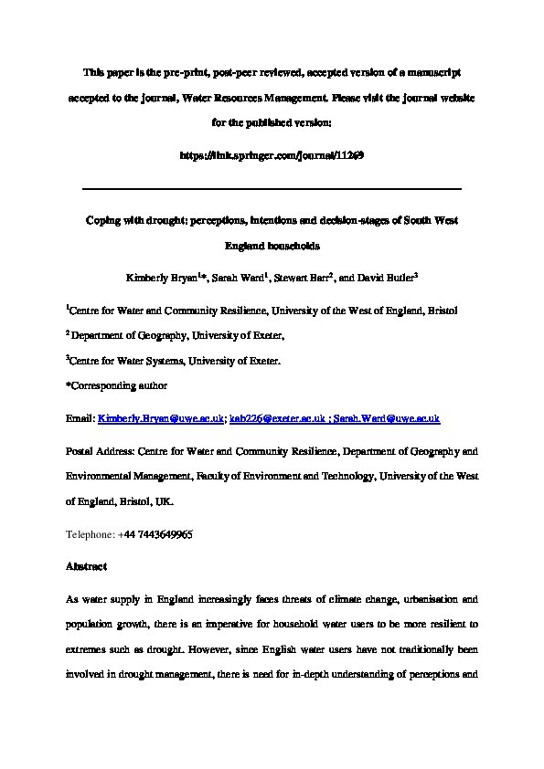 Coping with drought: Perceptions, intentions and decision-stages of South West England households Thumbnail