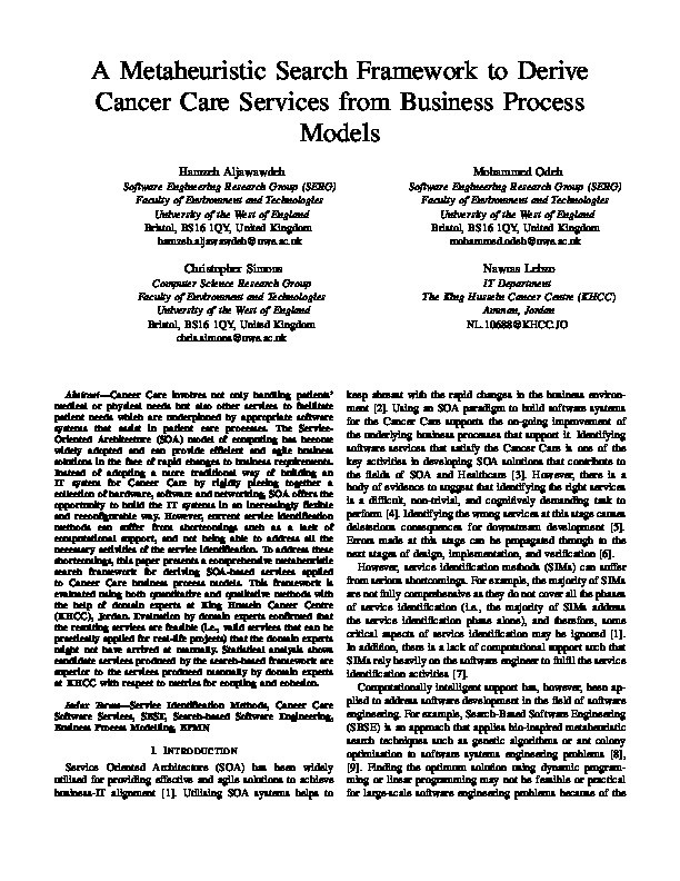 A metaheuristic search framework to derive Cancer Care Services from business process models Thumbnail