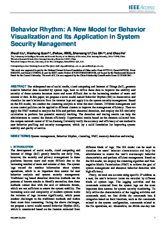 Behavior rhythm: A new model for behavior visualization and its application in system security management Thumbnail
