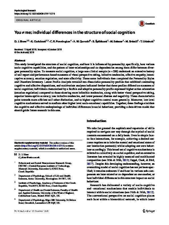You ≠ me: individual differences in the structure of social cognition Thumbnail