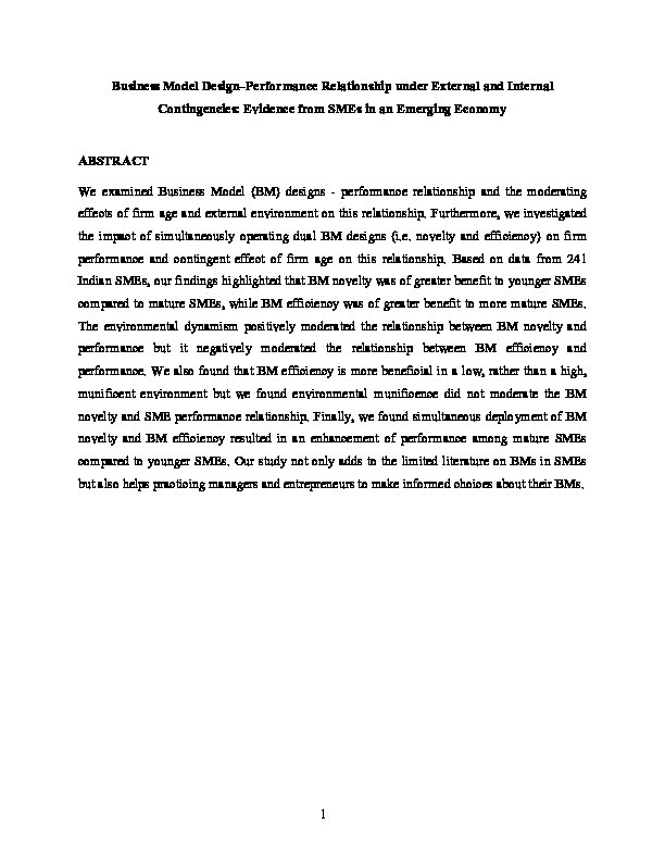 Business model design–performance relationship under external and internal contingencies: Evidence from SMEs in an emerging economy Thumbnail