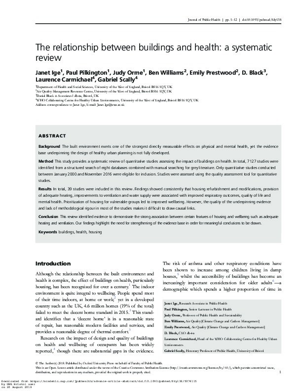 The relationship between buildings and health: A systematic review Thumbnail