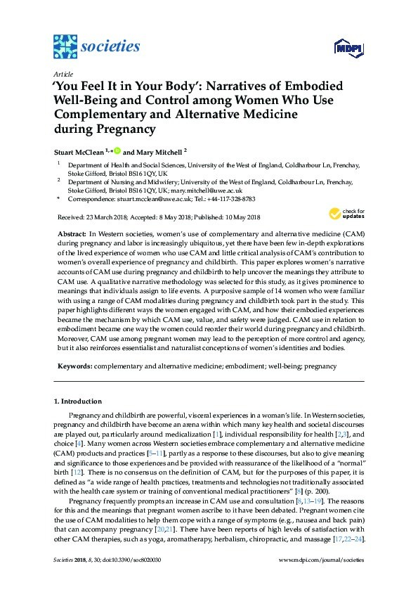 'You feel it in your body': Narratives of embodied well-being and control among women who use complementary and alternative medicine during pregnancy Thumbnail
