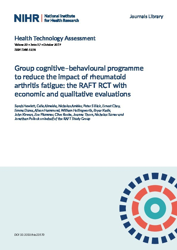 Group cognitive–behavioural programme to reduce the impact of rheumatoid arthritis fatigue: The RAFT RCT with economic and qualitative evaluations Thumbnail
