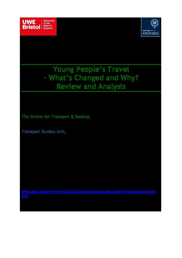 Young people's travel – What's changed and why? Review and analysis Thumbnail