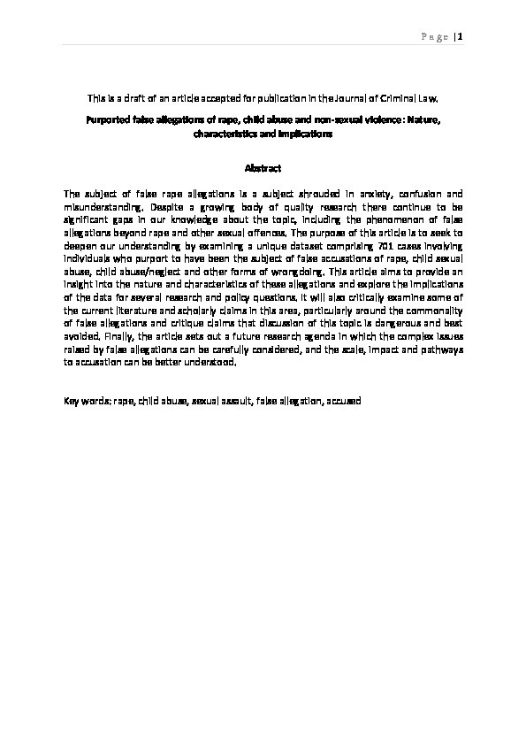 Purported false allegations of rape, child abuse and non-sexual violence: Nature, characteristics and implications Thumbnail