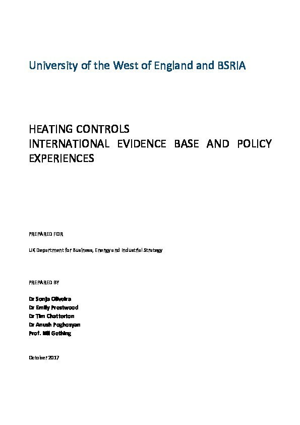 Heating controls: International evidence base and policy experiences Thumbnail