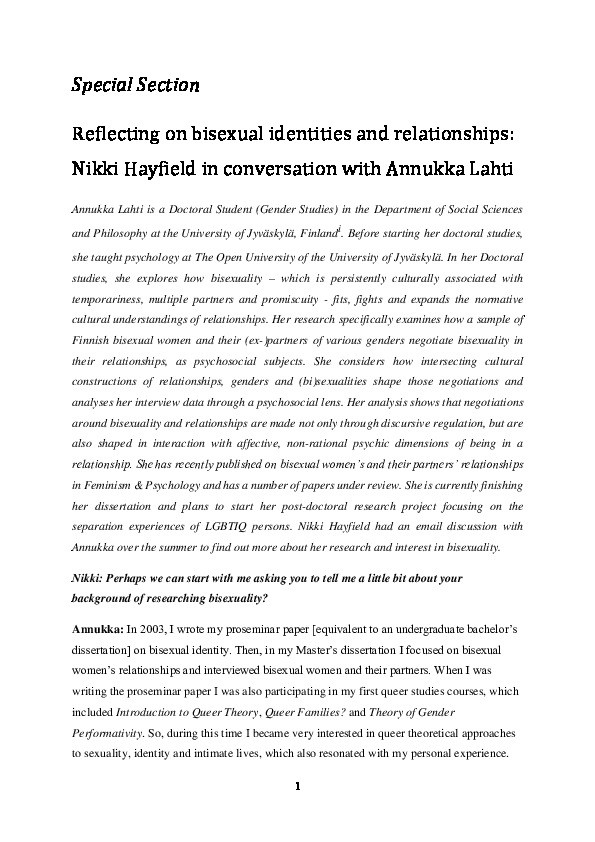 Reflecting on bisexual identities and relationships: Nikki Hayfield in conversation with Annukka Lahti Thumbnail