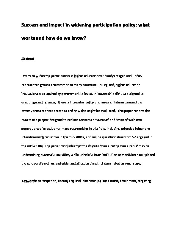 Success and impact in widening participation policy: What works and how do we know? Thumbnail