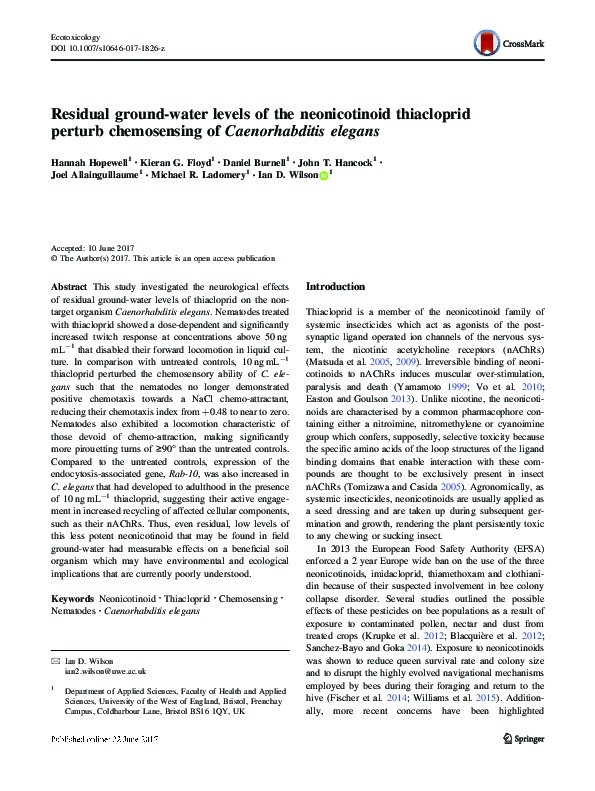 Residual ground-water levels of the neonicotinoid thiacloprid perturb chemosensing of Caenorhabditis elegans Thumbnail