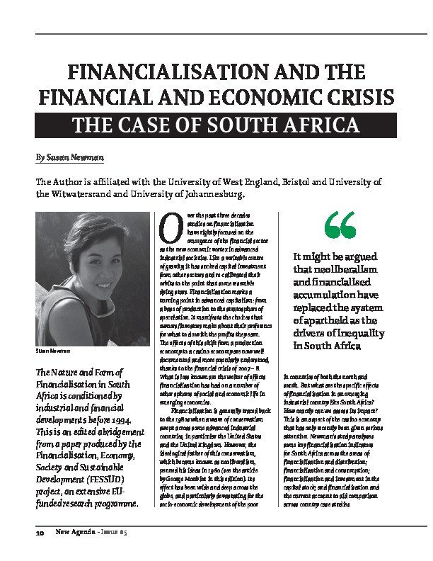 Financialisation and the financial and economic crisis - the case of South Africa Thumbnail