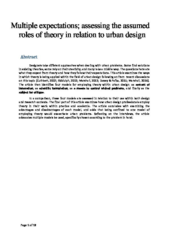 Multiple expectations: Assessing the assumed roles of theory in relation to urban design Thumbnail