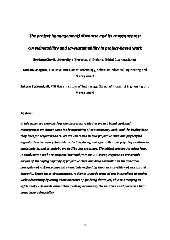 The project (management) discourse and its consequences: On vulnerability and unsustainability in project-based work Thumbnail