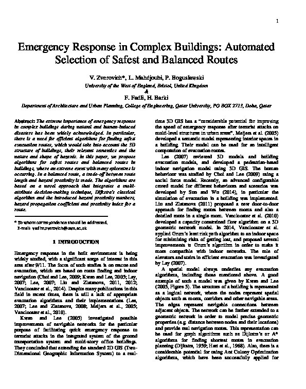 Emergency response in complex buildings: Automated selection of safest and balanced routes Thumbnail