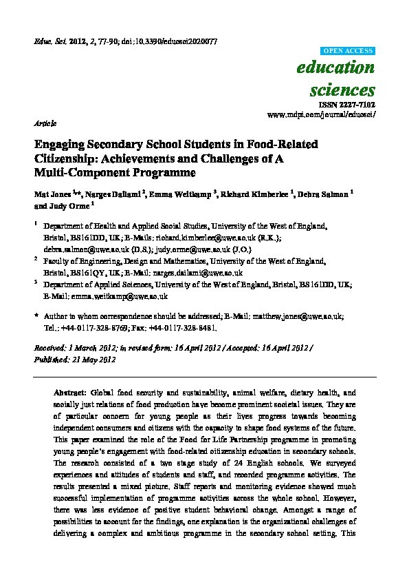 Engaging secondary school students in food-related citizenship: Achievements and challenges of a multi-component programme Thumbnail